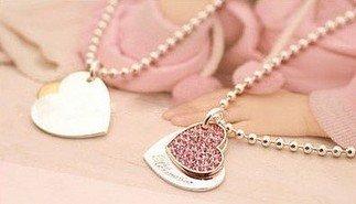 JA144 Doppel Herz Anhänger Halskette, Künstliche Rosa Kristall Zwilling Herz Halskette