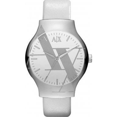 Armani Exchange Ladies White Leather Strap Watch AX3143