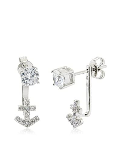 Bronzo Lusso 2-Cttw. CZ Pavé Anchor Front-to-Back Earrings