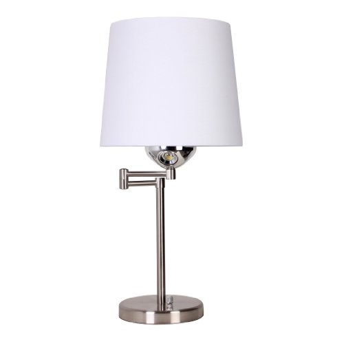 Illuminada 19179-000 24-Inch Dual Function Swing Arm Lamp With Led Reading Light, Brushed Nickel