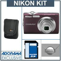 Nikon Coolpix S3000 Digital Camera Kit,- Plum - with 4GB SD Memory Card, Camera Case, 2 Year Extended Service Coverage,