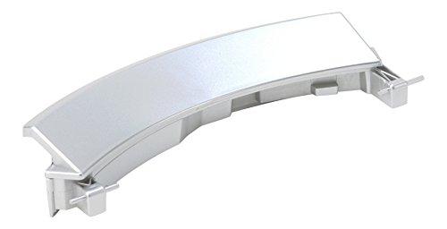 DREHFLEX® - für Waschmaschine / Waschvollautomat Türgriff / Griff / Fenstergriff für diverse Geräte von Bosch / Siemens / Constructa - passend für Teile-Nr. 00751783 / 751783 silber / alu-farbend inkl. 2 Achsen
