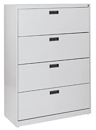 "Sandusky 400 Series Dove Gray Steel Lateral File Cabinet with Plastic Handle, 30"" Width x 53-1/4"" Height x 18"" Depth, 4 Drawers"