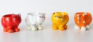 4 Eierbecher Eier Katze Katzen - Wackel Kopf - 4 Farben