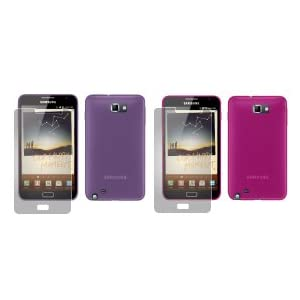 totaldigitalstores - Gel Case X 2 for Samsung Galaxy Note + 2 Screen Protectors (2 Pack contains 1 X Pink & 1 X Purple)