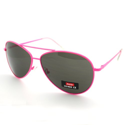Bright Neon Aviator Sunglasses: Neon Pink