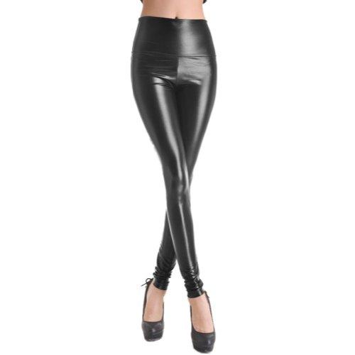 SlickBlue Women's Faux Leather Leggings Pants (Shiny Black Medium)
