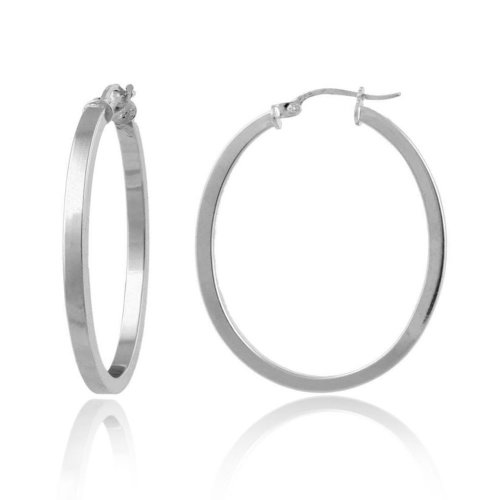 Sterling Silver Square Tube Oval Hoop Earrings (1.2