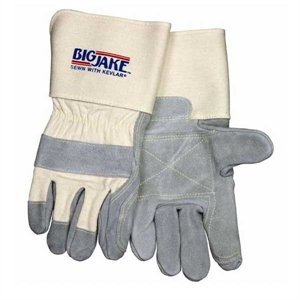 MCR Safety 1712 Big Jake Cow Leather Sewn Kevlar Double Palm Gloves with 4-1/2-Inch Gauntlet Cuff, Natural Pearl, X-Large