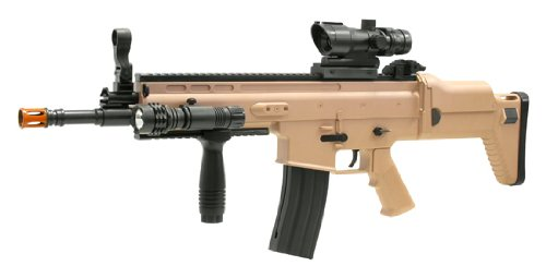 Spring SCAR-L Rifle FPS-350 Red Dot Sight, Flashlight,
