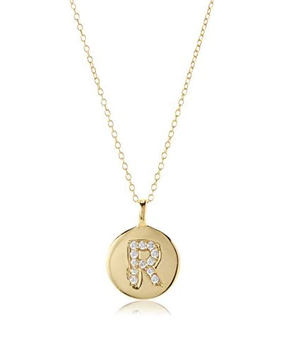 Argento Vivo CZ Encrusted R Initial Pendant Necklace