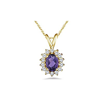 0.42 Cts Diamond & 1.51 Cts Amethyst Pendant in 14K Yellow Gold