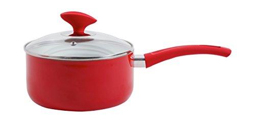Sunbeam 107346.02 Acerra Aluminum Ceramic Sauce Pan with Lid, 2 quart, Red/White (Ceramic Nonstick Sauce Pan compare prices)