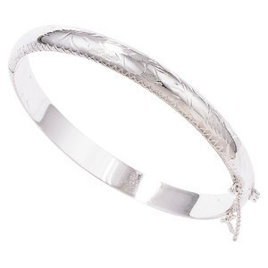 Sterling Silver Bangle with Design and Safety Chain