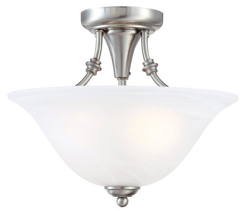 Hardware House 544676 Bristol 13-by-11-Inch 2-Light Semi-Flush Ceiling Fixture with Brushed-Nickel Finish and Alabaster-Glass Shade (House Hardware compare prices)