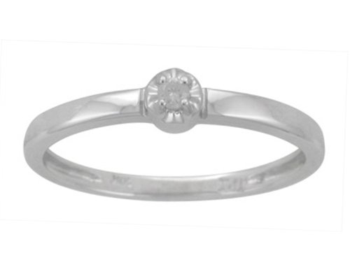 10k White Gold Diamond Solitaire Promise Ring (.03 ct, I-J Color, I2-I3 Clarity), Size 8