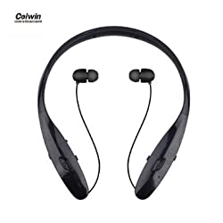 Bluetooth Headset, Coiwin HBS-960S Wireless Bluetooth Headsets Hand-free Headphones/Earbuds, Neckband Noise Canceling for Iphone/Ipad/Sony and Other Bluetooth Device (HBS-960s-Black)