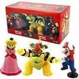 Super Mario 3 Pack Princess Peach Bowser Mario Figures Collection In Box