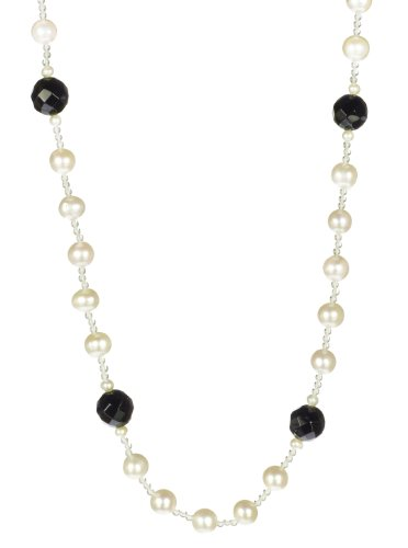 Crystal and White Freshwater Cultured Pearl Strand with Black Onyx Accents Necklace 50