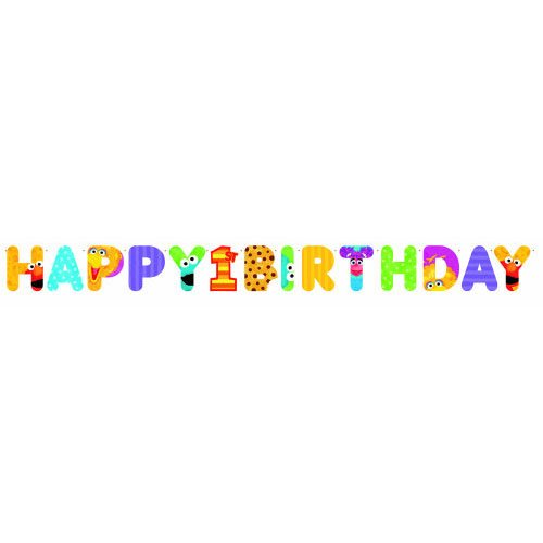 Amscan Bright Sesame Street 1st Birthday Jumbo Letter Banner Kit, Multicolor