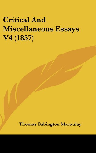 Critical And Miscellaneous Essays V4 (1857)