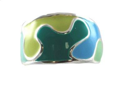 DaVinci Blue & Green Swirl Fashion Ring Silver Tone - You Choose Size - Double Sterling Layered (10)