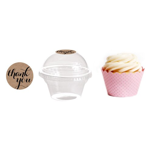 Dress My Cupcake 24-Pack Kraft Dessert Table Label Kit, Includes Favor Dome Containers, Thank You! Label And Baby Pink Wrapper front-150721