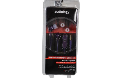 Audiology Au-Epm20-Pl In-Ear Stereo Earphones With Microphone For Mp3 Players, Ipods And Iphones (Purple)