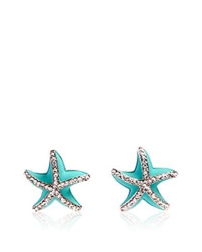 Alibey Pendientes en forma de estrella de mar con cristalitos incrustados Turquesa