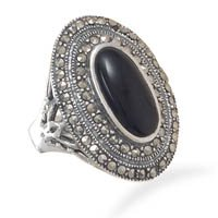 Prey/Pray oxidized Marcasite and Black Onyx Ring
