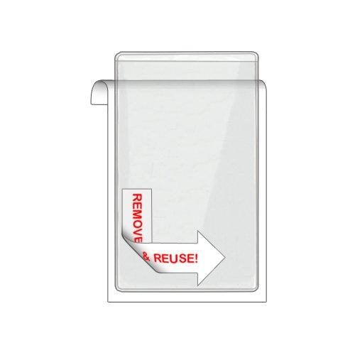 "Storesmart® Remove & Reuse Peel & Stick Plastic Pocket - 100 Pockets - 3"" X 5"" - Open Short Side - Vinyl Plastic (Psr164S-100) front-629077"