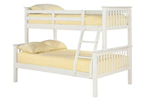 Otto White 3 Sleeper Wooden Bunk Bed 120cm Small Double Frame Only