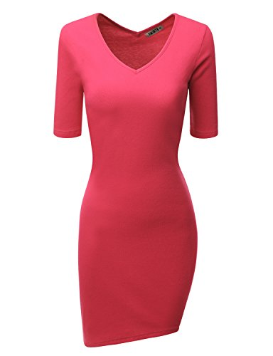 Doublju Women Casual Short Sleeve Skinny Fit Rib Cotton Knit Dress MAGENTA,M
