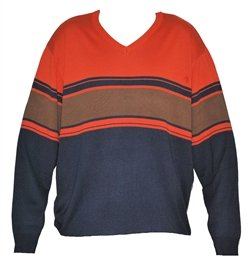 Mens Blue Brown V Neck Jumper Sweater. Size 3XL.