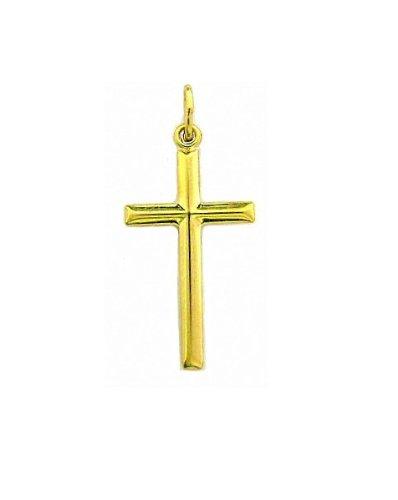 14K Real Yellow Gold Baby Cross Pendant Charm Shiny