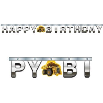Construction Birthday Zone Jointed Banner Large Foil Party Decoration