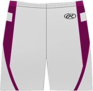 Rawlings Ladies Lean-FIT Basketball Shorts W MA - WHITE MAROON W2XL by Rawlings