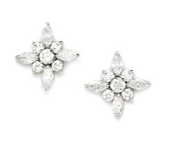 14ct White Gold CZ Flower Screwback Earrings - Measures 12x12mm