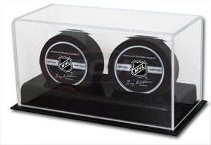 ICE HOCKEY PUCK TWIN PUCK DISPLAY CASE