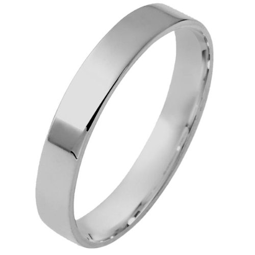 14K White Gold, Flat Comfort Fit Wedding Band 4MM (sz 11)