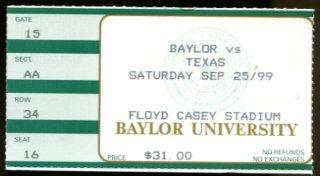 1999 Texas Longhorns V Baylor Bears Game Ticket