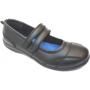 Girls Toughees Sienna Black Leather School Shoes