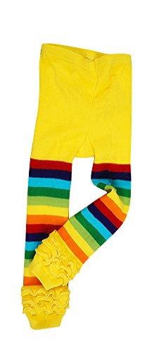 Baby Girls' Rainbow Ruffle Toddler Knit Leggings Yellow, 4-5 Years