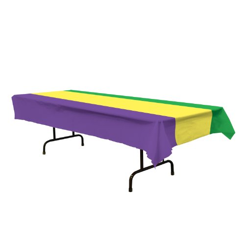 Mardi Gras Tablecover (golden-yellow, green, purple) Party Accessory (1 count) (1/Pkg)