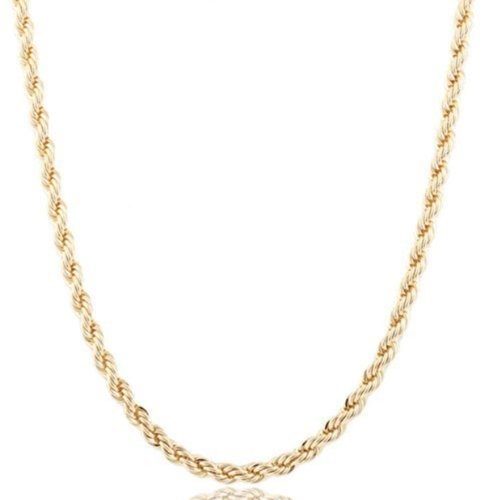 2 Pieces of Gold 6mm 24 Inch Rope Chain Necklace