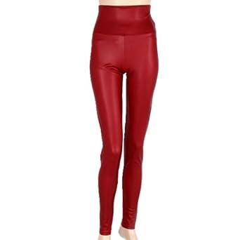 Sexy Leggings Collants Moulant Faux Cuir Femme Slim Fit (large, Rouge)