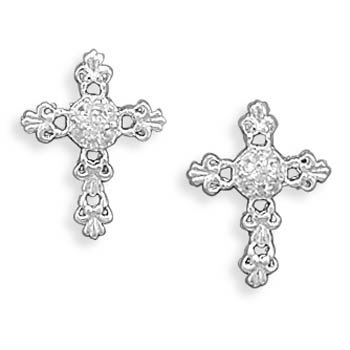 Sterling Silver Cross Earrings with Clear CZ Center