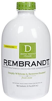 Rembrandt Deeply White + Peroxide Whitening Mouthwash with Fluoride- Fresh Mint- 16 oz (Quantity of 3)