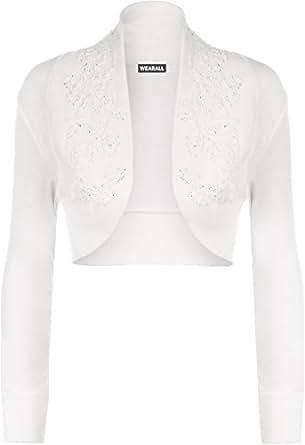 WearAll - Boléro orné de perles à manches longues - Hauts - Femmes - Blanc - 44-46