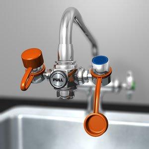 Guardian G1100 EyeSafe Faucet-Mounted Eyewash, Adjustable Aerated Outlet Heads